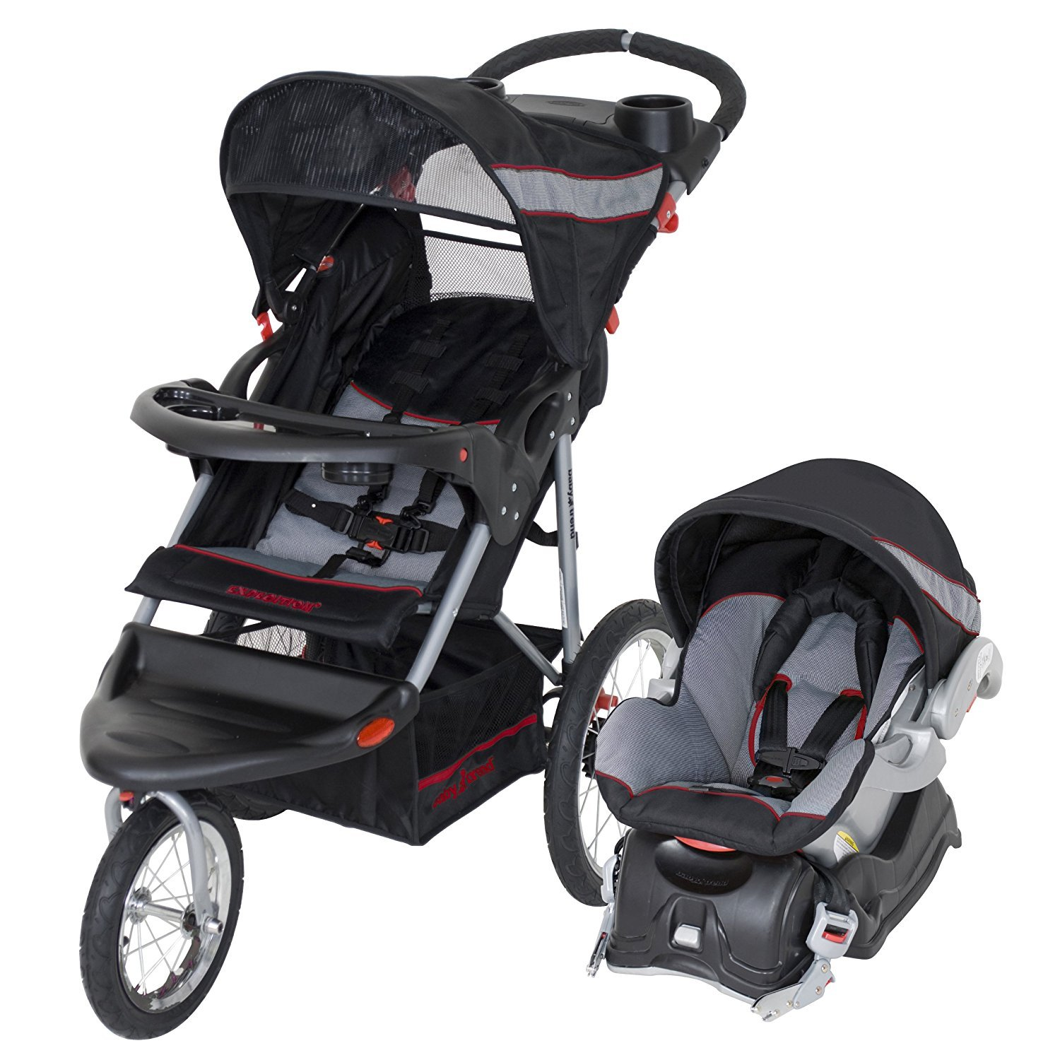 Car seat can hold a child up to 35 lbs, stroller 50 lbs.