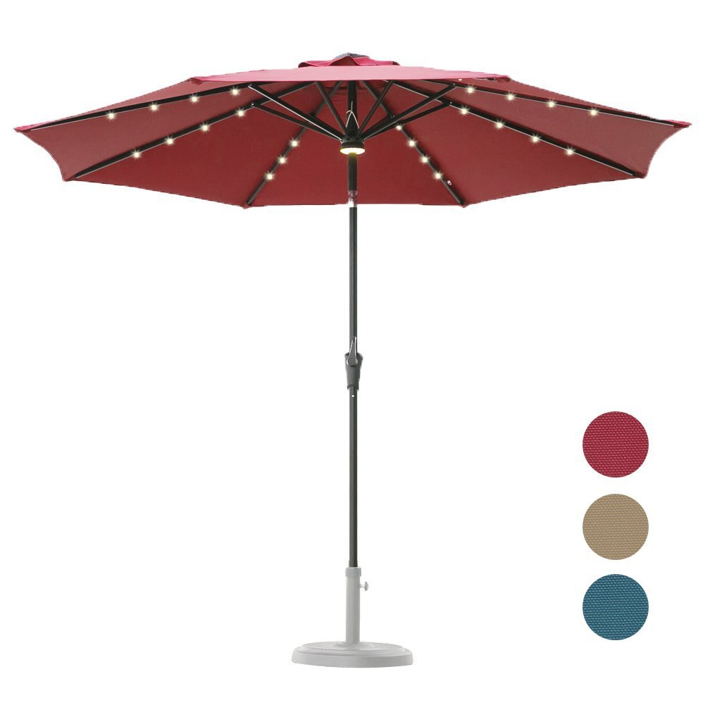 Hopetree 9 Foot Solar Patio Market Umbrella
