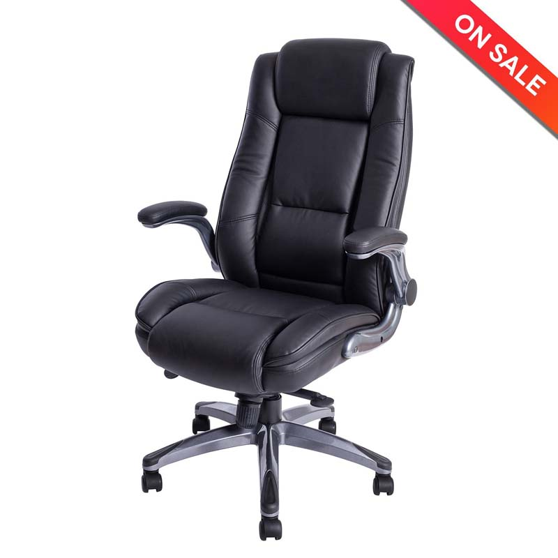LCH High Back Leather Office Chair - Adjustable Angle Recline Locking System and Flip-Up Arms Executive Computer Desk Chair