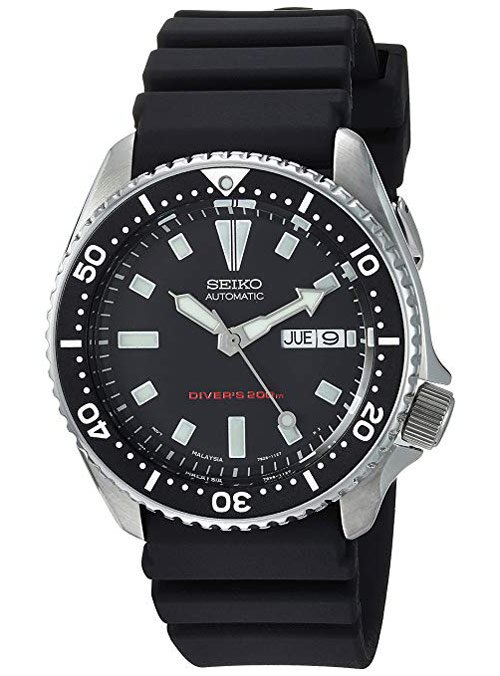 Seiko Men's Black Dial Automatic Divers Watch