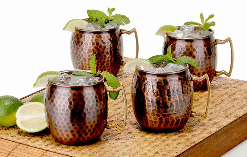 Old Dutch 16 Oz. Nickel-Lined Antique Copper Hammered Moscow Mule Mug