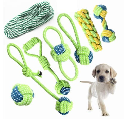 Petony Dog Toys, Interactive Chewing Rope Ball Toys Set